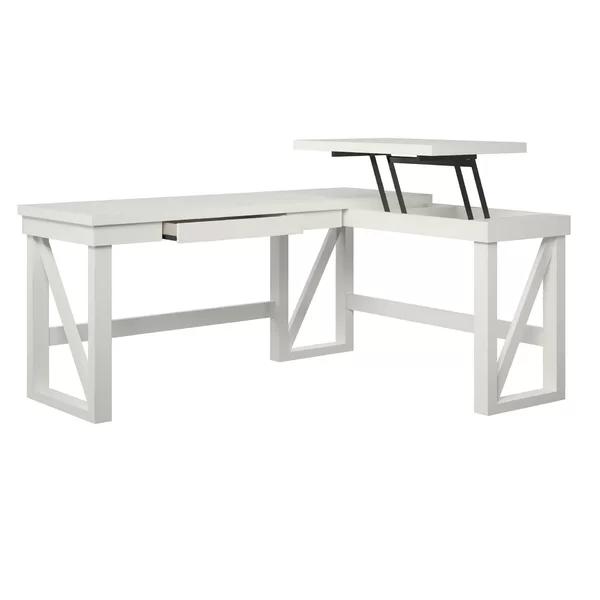 Schaeffer Height Adjustable L Shape Desk In 2020 White L Shaped Desk L Shaped Desk L Desk