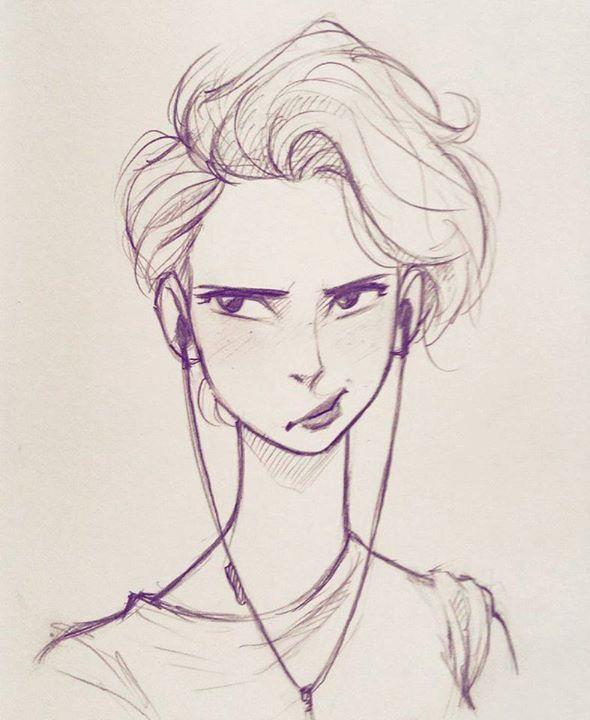 Girl Short Hair Drawing Retrato A Lapis Desenhando Retratos