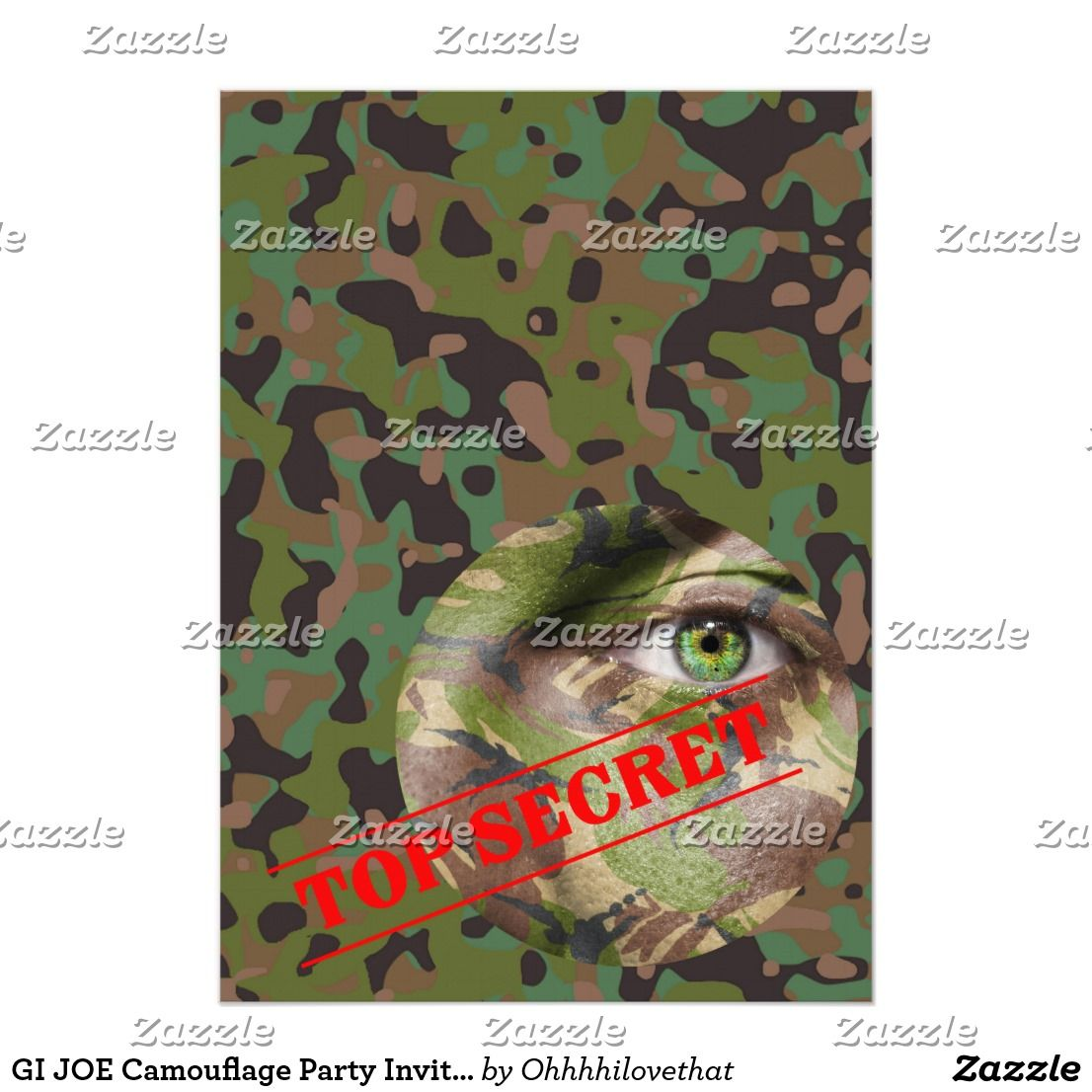 gi joe camouflage party invitation teens 13 17 birthday