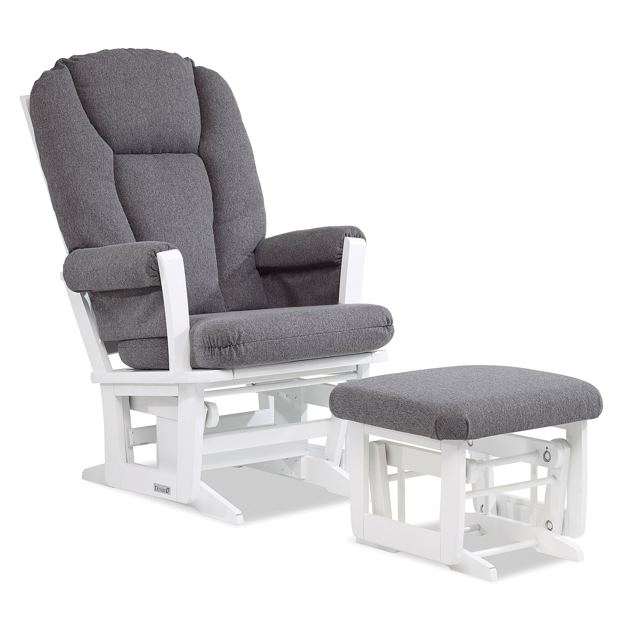 Astonishing Dutailier Modern Glider And Ottoman In White Charcoal Ncnpc Chair Design For Home Ncnpcorg
