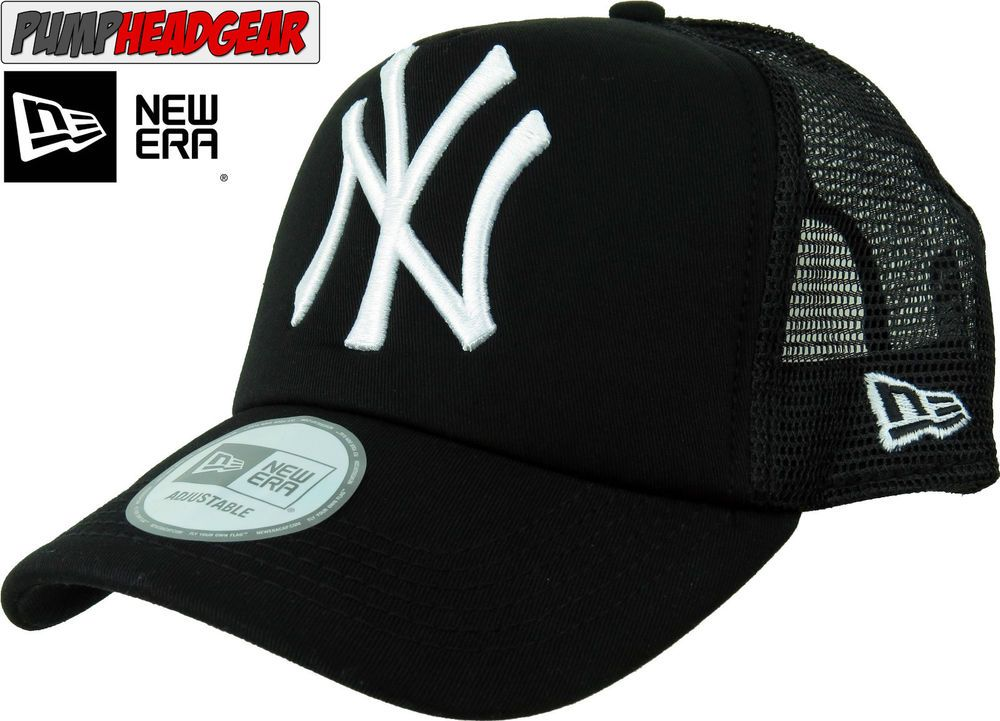 NY Yankees New Era All Black Clean Trucker Cap