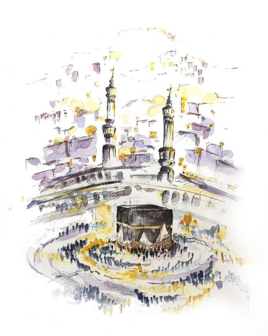 Kabah Makkah Seni Islamis Seni Kaligrafi Ilustrasi