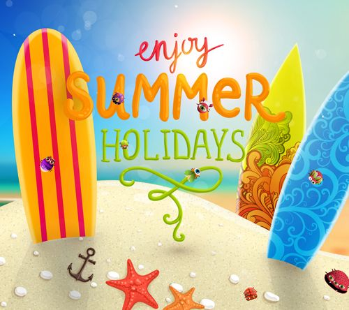 Enjoy Tropical Summer Holidays Backgrounds Vector 01