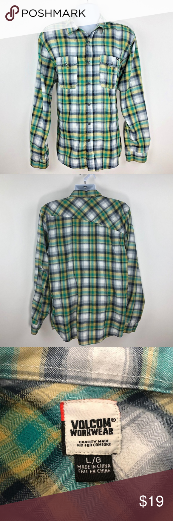 Mens hooded flannel jacket  Volcom Workwear Mens Green Yellow Plaid Shirt  My Posh Closet
