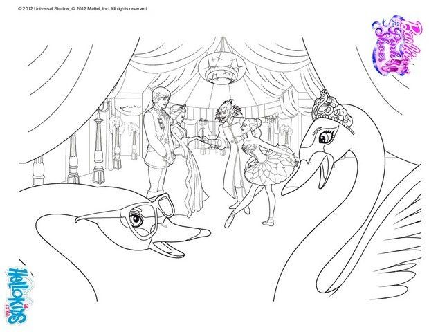 Swans Under Snow Queen Coloring Sheet More Barbie Ballerina Pages On Hellokids