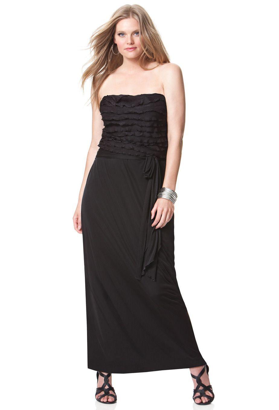 Bandeau ruffle maxi dress plus size plus size maxi