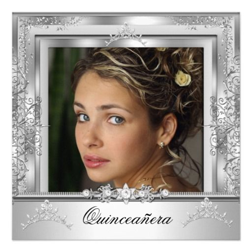 Photo of Quinceañera 15th Birthday Party White Silver Tiara Invitasjon | Zazzle.com