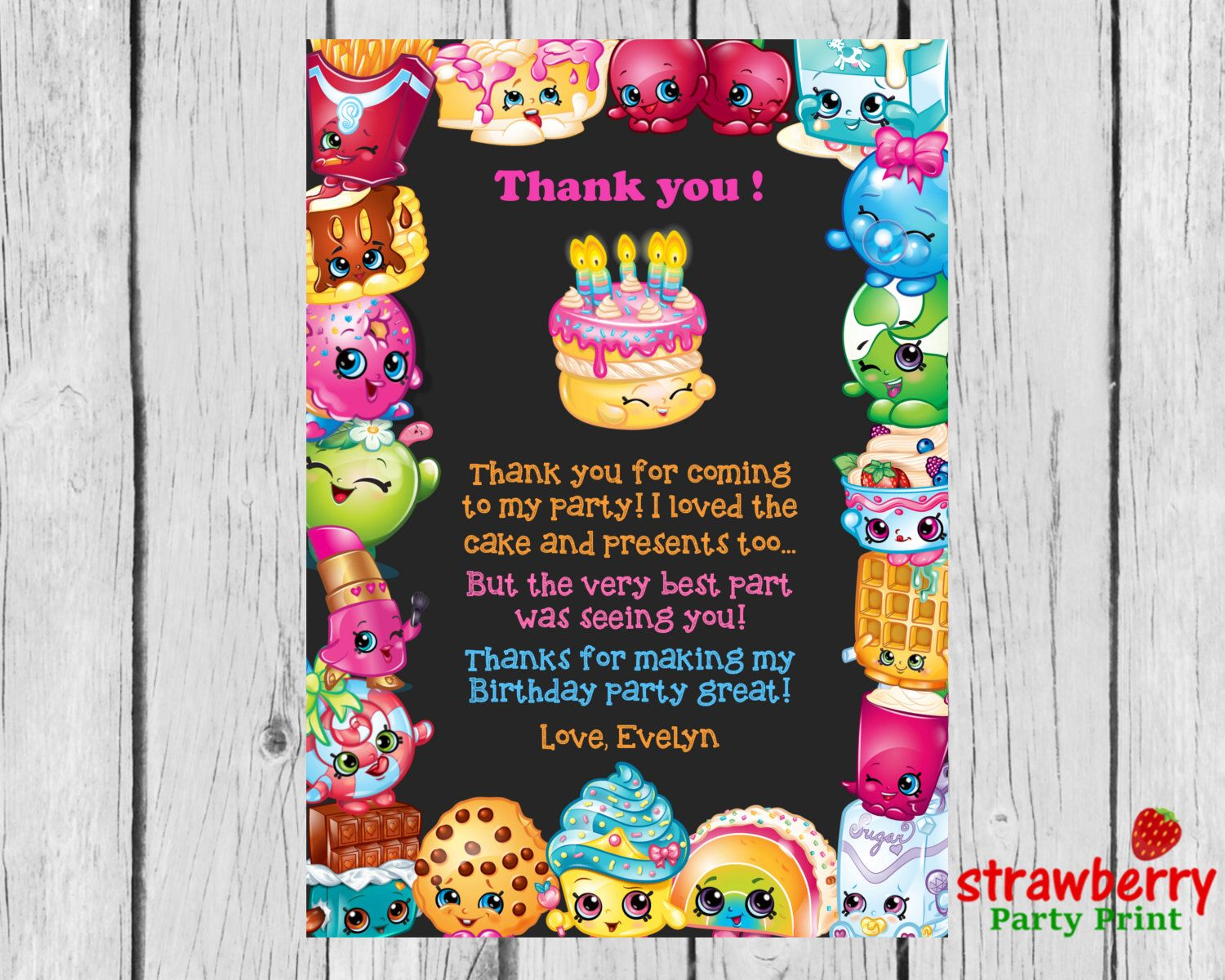 44 best shopkins party images on pinterest birthday party ideas shopkins thank you card to match birthday invitation shopkins party invite thank you note monicamarmolfo Images