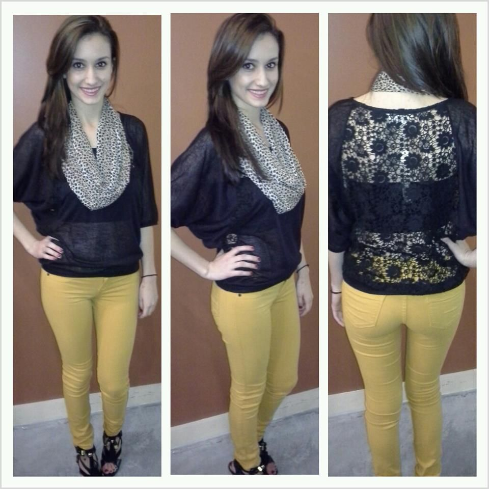 """""""Sneak Peak"""" Mustard Skinnies & """"Ya"""" Black Top with Sheer Laced Back, Scarf, Bandeau ~ Apricot Lane Boutique South Florida"""