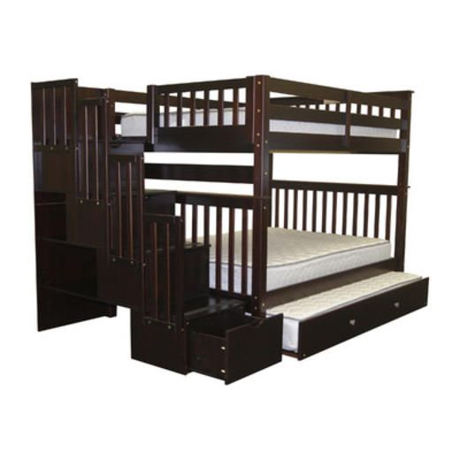 Bedz King Full Over Full Bunk Bed with Twin Trundle - Finish: Cappuccino
