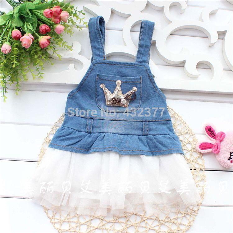 aa8daa0f5468 Click to Buy    toddler baby Girls Princess Denim Strap Veil Dresses ...