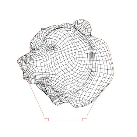 Bear Head 3d Illusion Lamp Plan Vector File For Laser And Cnc 3bee Studio 3d Illusions Illusions 3d Illusion Lamp