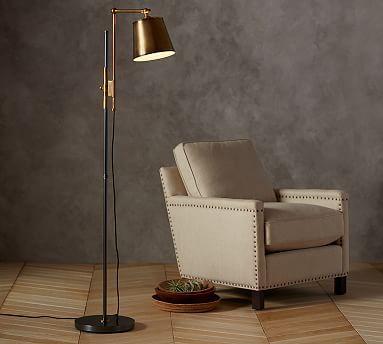 For Corner Of Upstairs Sectional //Knox Bronze U0026 Brass Task Floor Lamp  #potterybarn