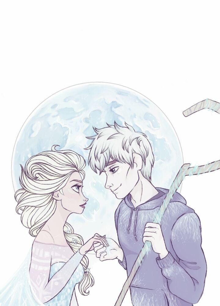 Queen Elsa And Jack Frost By Diamondbeautyink On Deviantart Jelsa Jack Frost Jack Frost And Elsa
