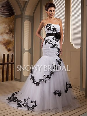white black mermaid long flower tulle sweetheart corset
