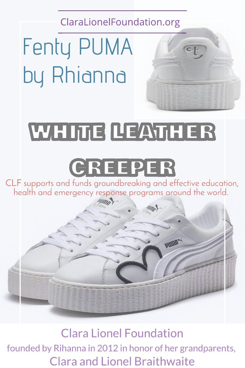 competitive price 61857 7648d Pure white leather Fenty PUMA Creeper with embroidered ...