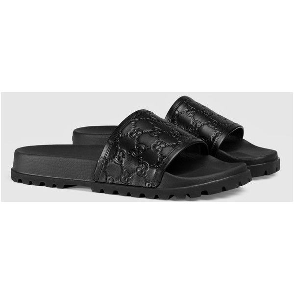 3935a96beda Gucci Gucci Signature Slide Sandal ( 310) ❤ liked on Polyvore featuring  men s fashion