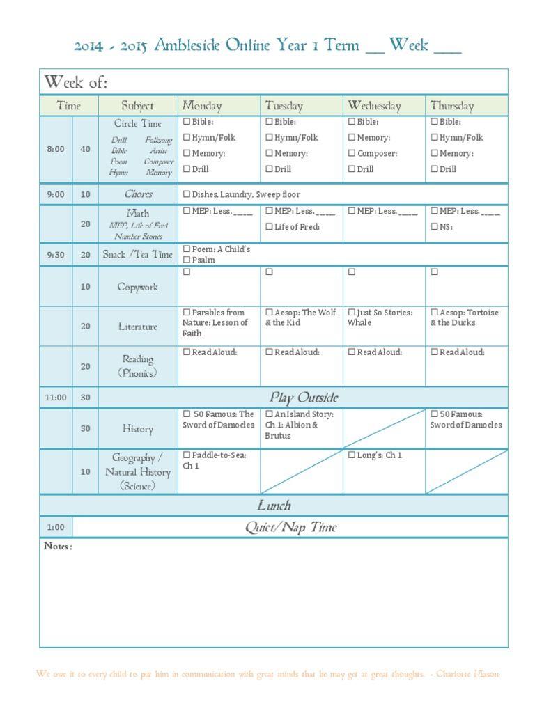 ambleside online weekly schedule year 1 term 1 hs charlotte