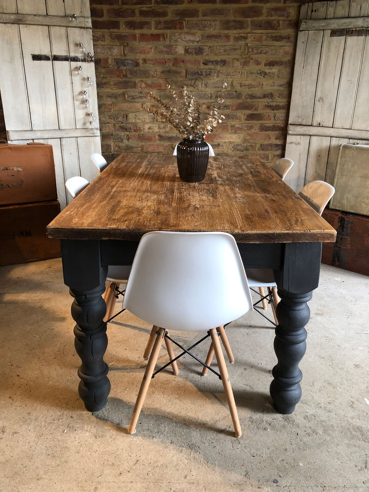 Rustic Old Farmhouse Table In Annie Sloan Custom Mix Of Graphite