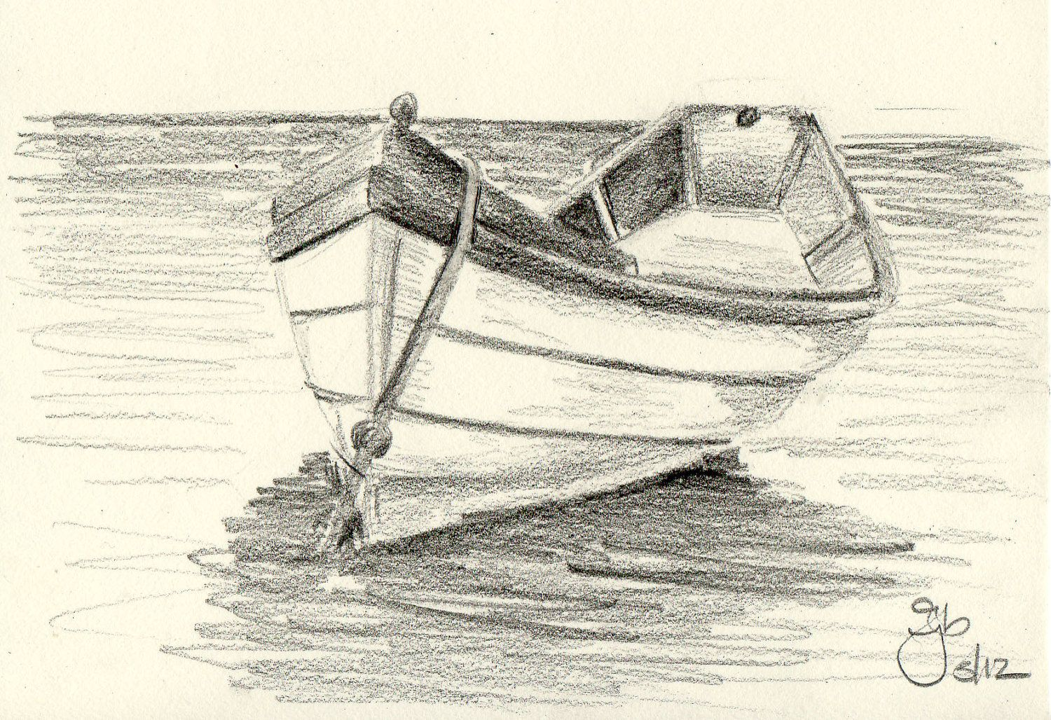 Boat on Water - 4x6 - Pencil Study | Study, Boats and ...