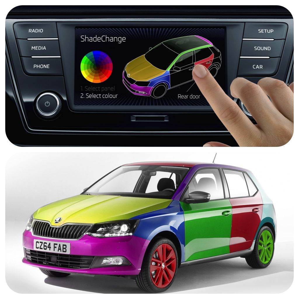 Colour changing car technology - Pretty In Pink Or Simply Seeing Red Change The Colour Your Car At The Touch Of Button World S First On The Move Colour Change System Koda Shadechange
