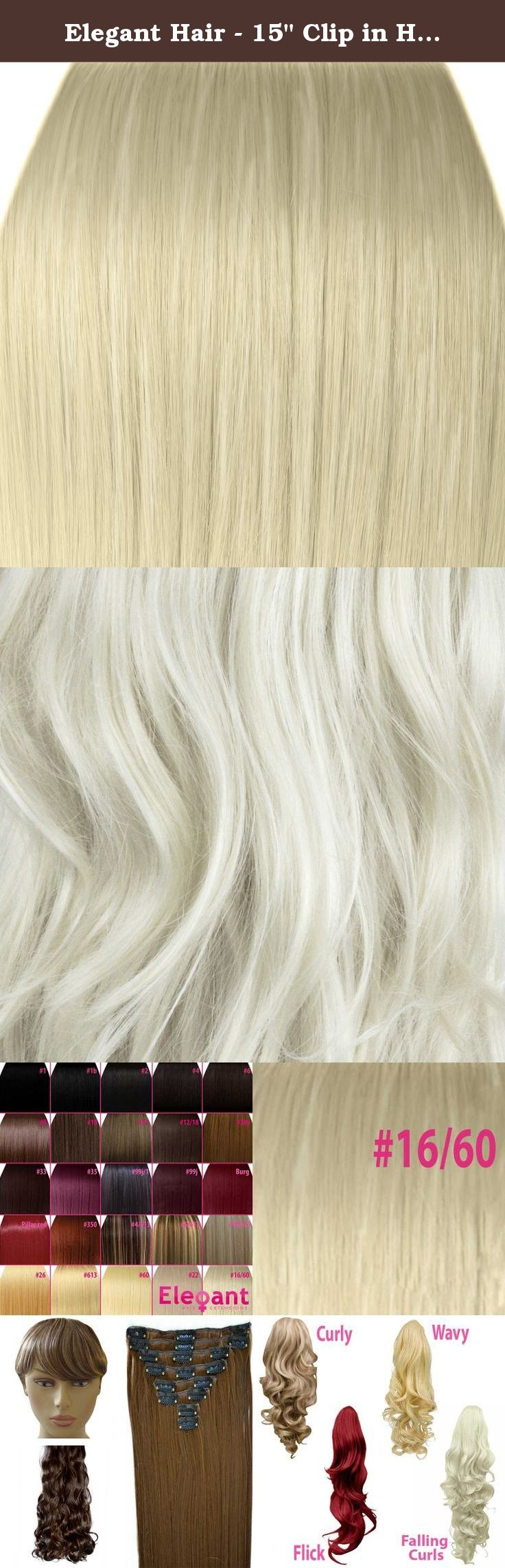 "Elegant Hair - 15"" Clip in Hair Extensions STRAIGHT Platinum Blonde #16/60 FULL HEAD 8pcs. Product Information: Our New Full Head Sets will make thin hair thicker and short hair longer. No professional help is required, all with no damage to your own hair. Made from Japanese Futura Kanekalon Thermofibre looks and feels like human hair, silky and soft. Will remain poker straight even if you get caught in the rain. Will also remain curled until straightened again. Non slip secure clips…"