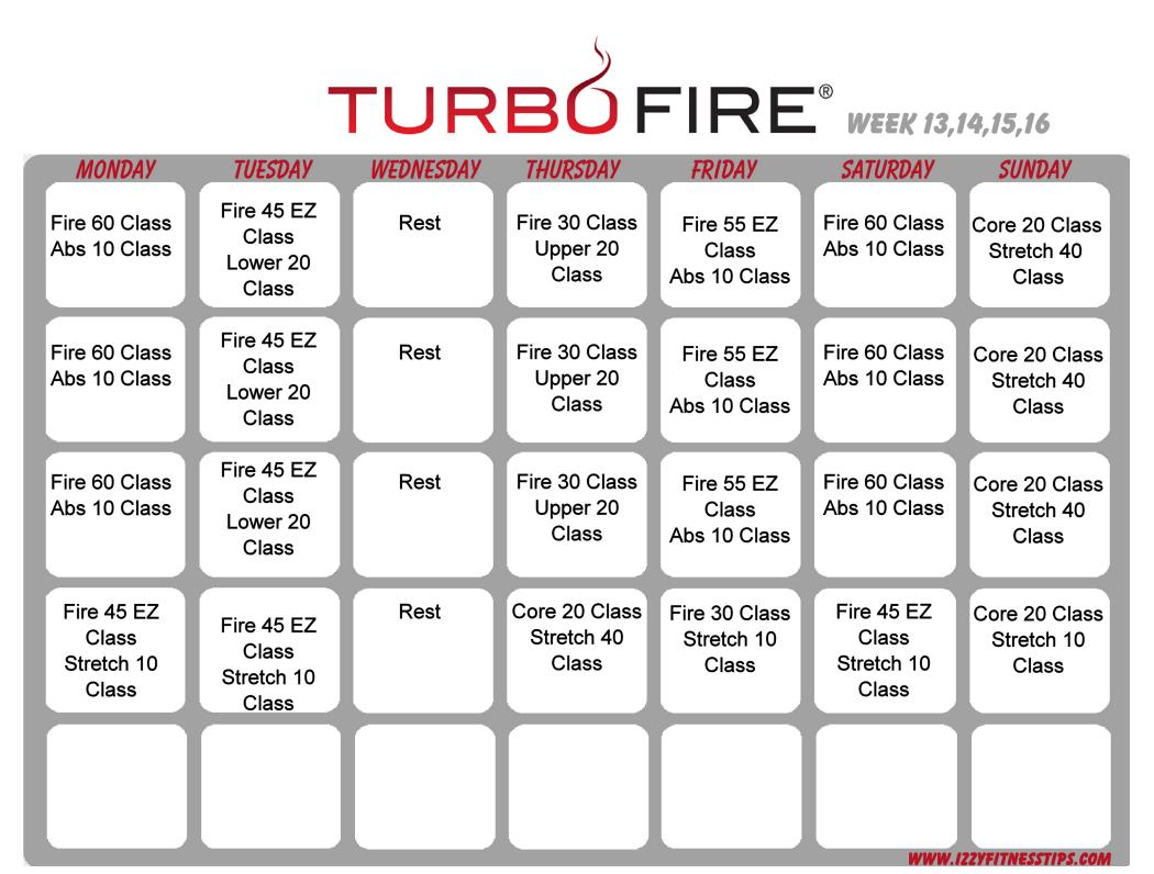 turbo fire schedule weeks 13-16 | workout calendars | pinterest