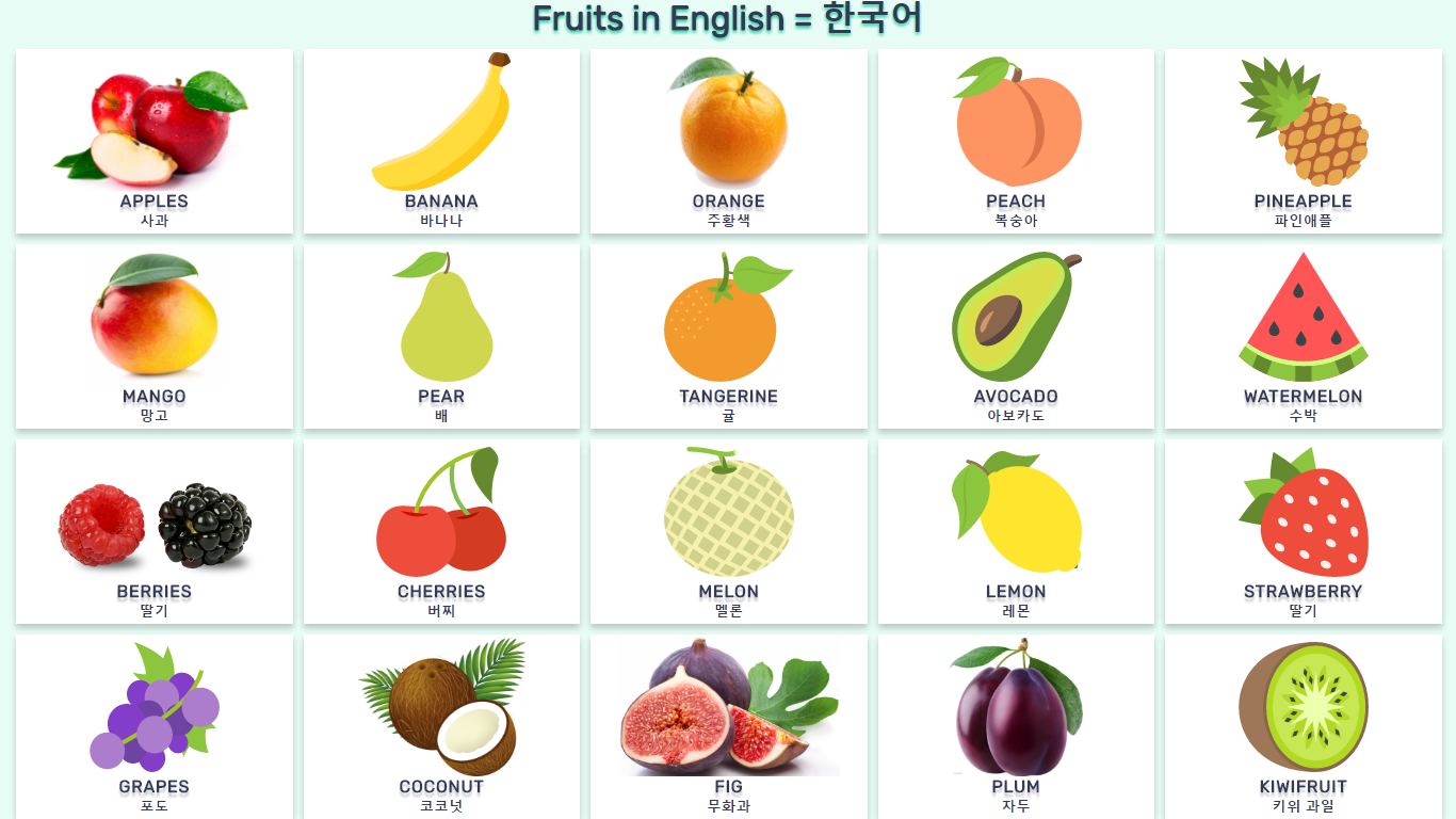Fruits English