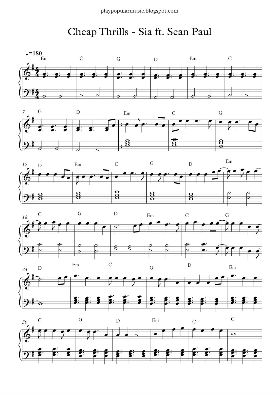 Free piano sheet music Cheap Thrills Sia ft. Sean Paul