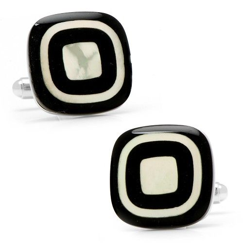 Onyx and MOP Square Button Cufflinks
