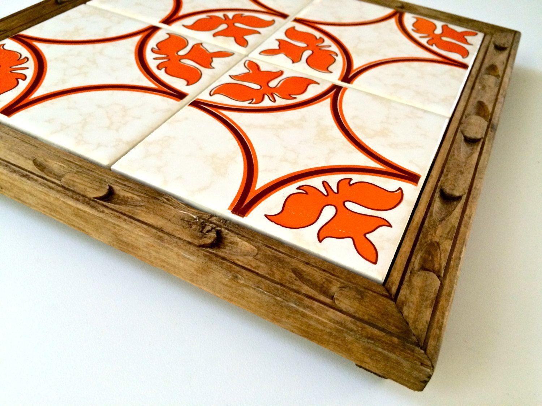 Superb vintage dal tile ceramic tile trivet with footed wood base superb vintage dal tile ceramic tile trivet with footed wood base dailygadgetfo Choice Image
