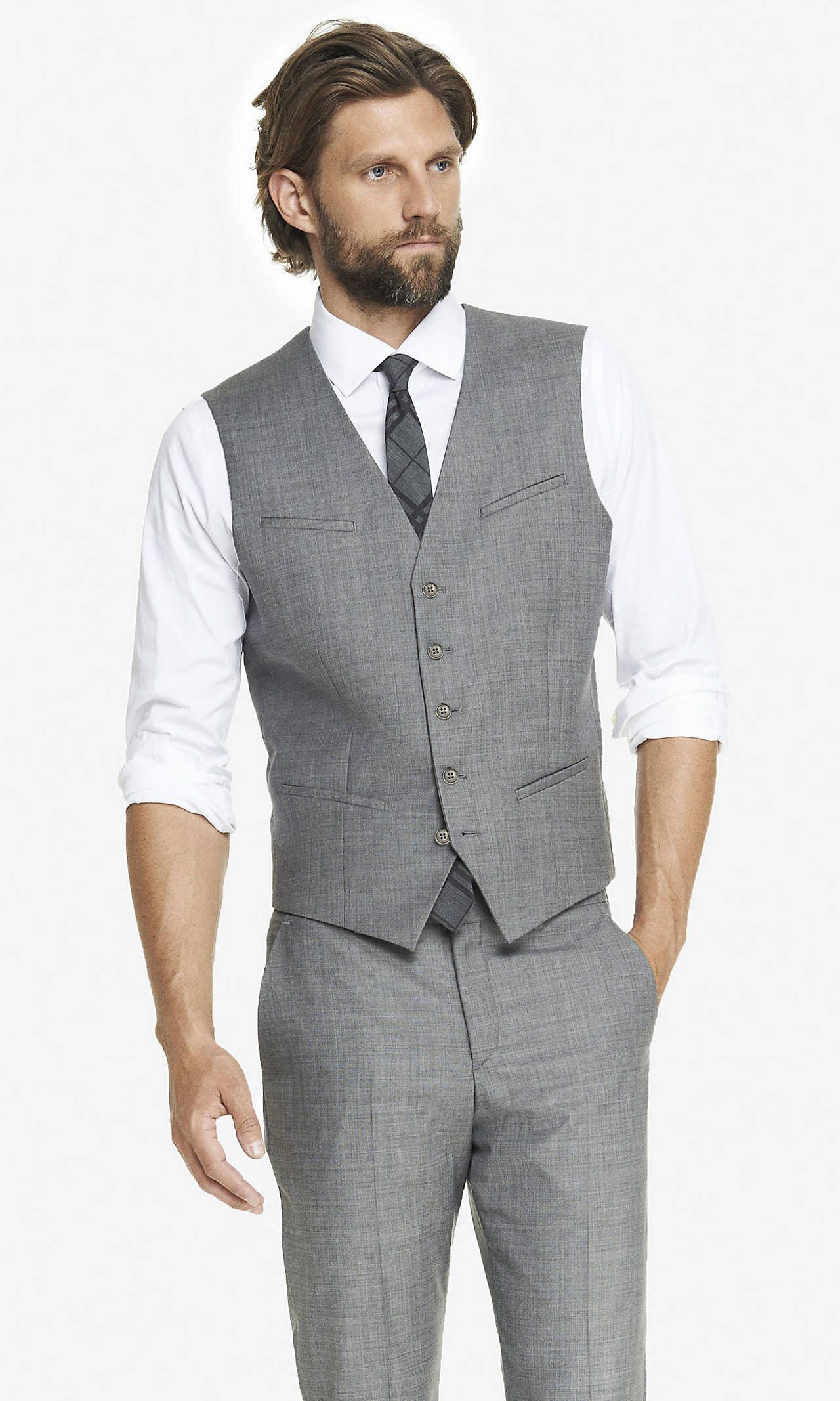 Micro Twill Suit Vest from EXPRESS | Hitched in 2018 | Pinterest ...