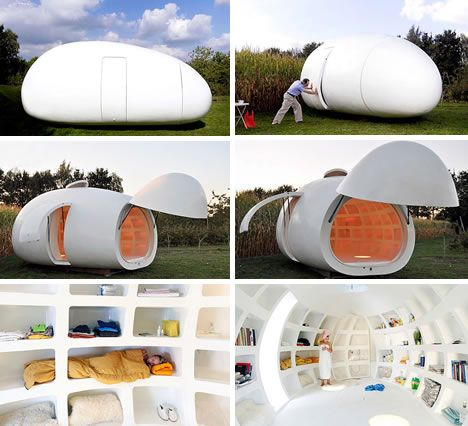 The mobile living space, blob VB3, has a bathroom, kitchen, storage niches, and even a nook for sleeping. The nose opens and can function as a porch. It took 18 months to build, is made primarily of polyester, and is easily transportable. The Blob can function as a office, garden house, or guest room.