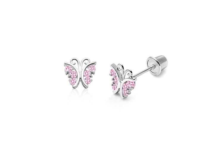 Curly Butterfly with Pink CZs Baby/Children's Earrings