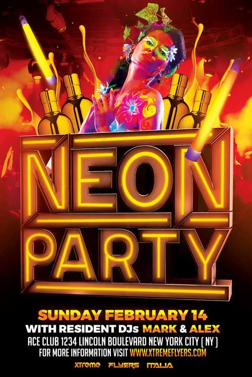 Neon Party Flyer Template - Http://Xtremeflyers.Com/Neon-Party