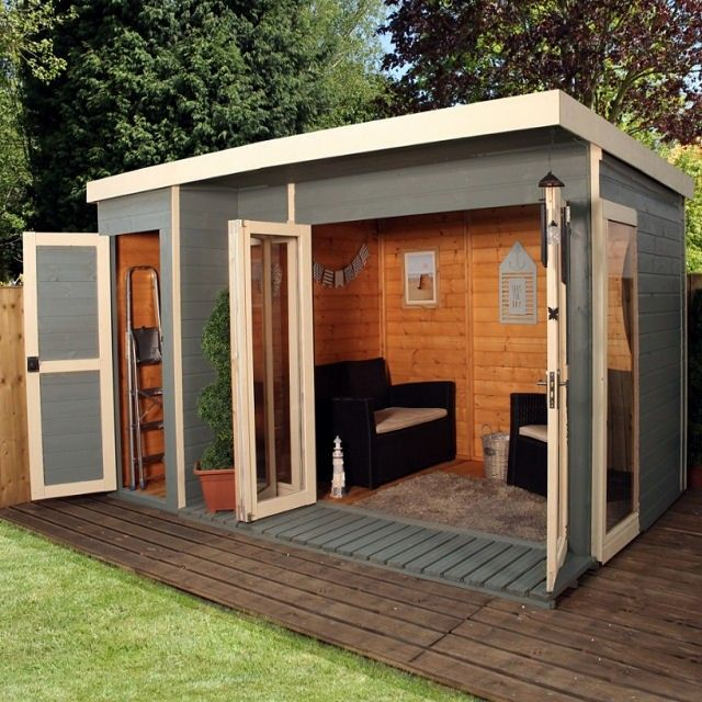 12 X 8 3 80m X 2 40m Mercia Garden Room Summerhouse With Side Shed Building A Shed Shed Design Backyard Sheds