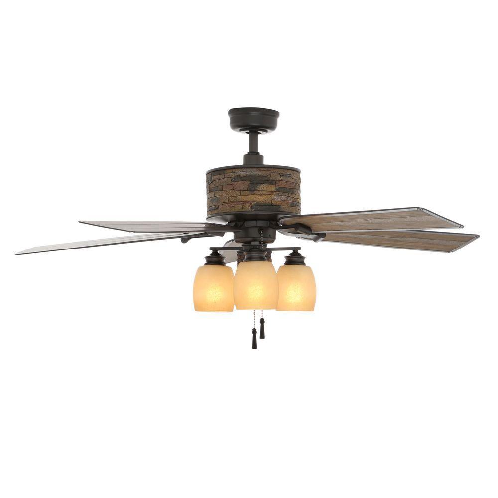 Indoor Outdoor Natural Iron Ceiling Fan