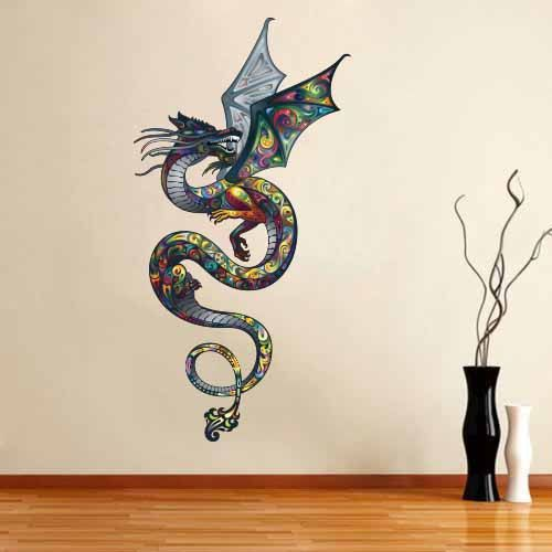 Full Color Wall Decal Mural Sticker Art Asian By Decalstyles Sticker Art Dragon Wall Art Fabric Wall Decals