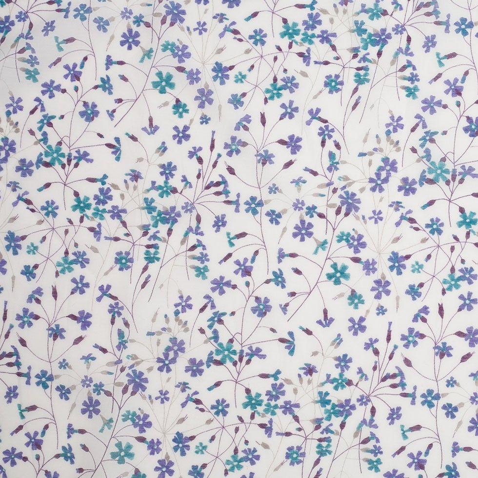 Liberty Of London Suria Blue Purple White Silk Cotton Voile Silk