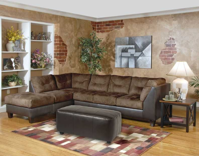 Serta Upholstered Sectional Comes In Chocolate Padded Suede Over An Espresso Bonded Leather L Sectional Sofas Living Room Sectional Sofa Couch Sectional Sofa #suede #living #room #set