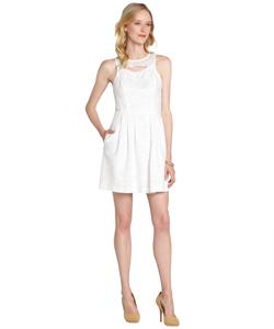 Ali Ro Optic White Cotton Eyelet Lace Accent Sleeveless Dress