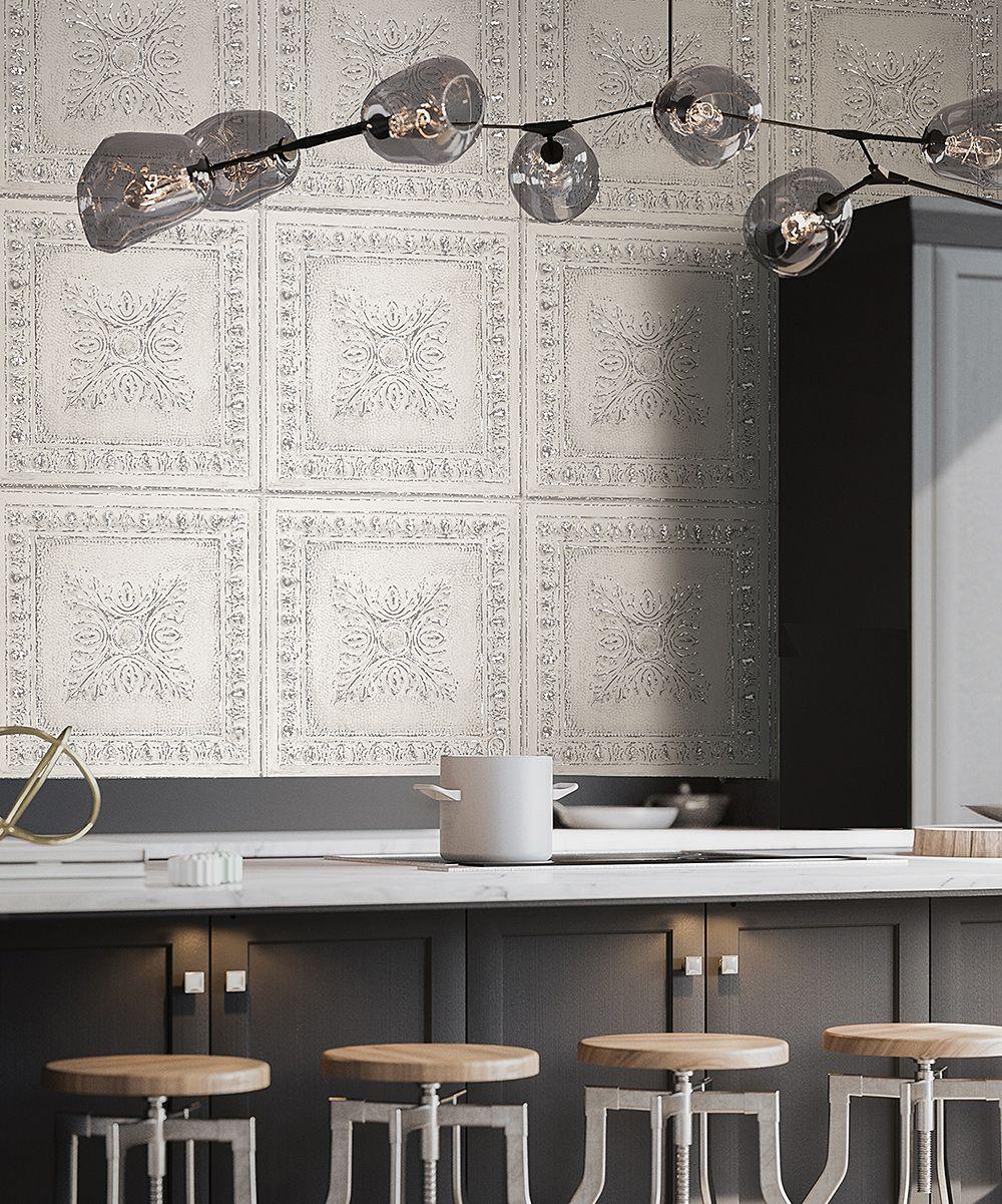 Off White Tin Tile Wallpaper