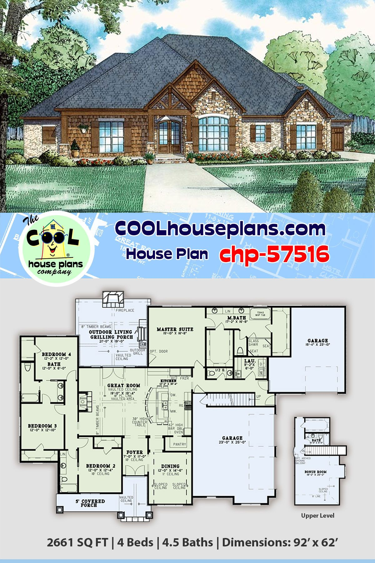 European House Plan Chp 57516 Has 2661 Sq Ft 4 Beds 4 5 Baths And A 3 Car Garage In 2020 House Plans Garage House Plans European House Plan