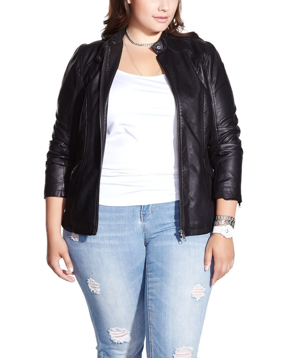 Plus Size Faux Leather Jacket (With images) Jackets