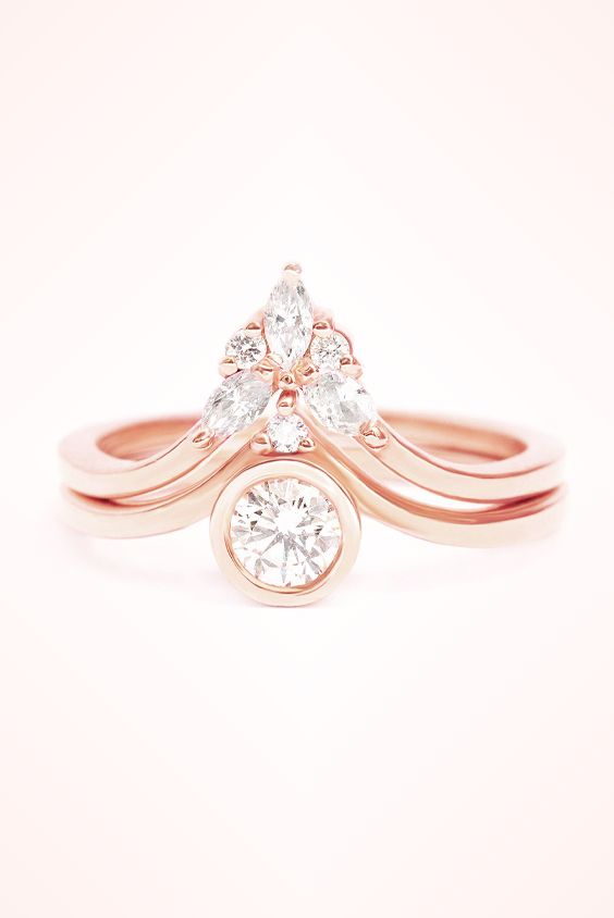 Round Diamond Engagement Ring Marquise Side Band Set Natural