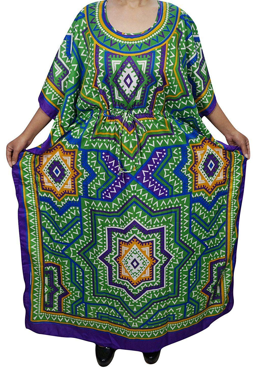 Indiatrendzs Women Kaftan Dress Light Viscose Printed Kimono Loose Dress   Long  Maxi Nighty 56