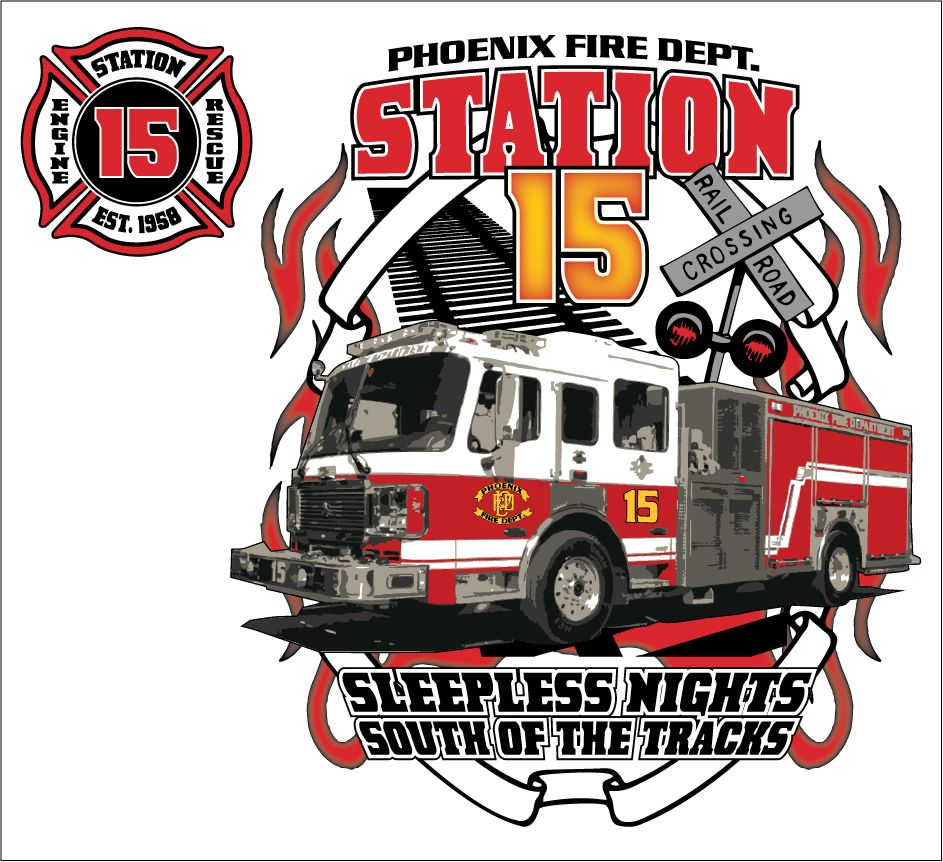 phoenix fire station 15 shirt design mock up firehouse clothing rh pinterest com fire department logo design fire department graphic design