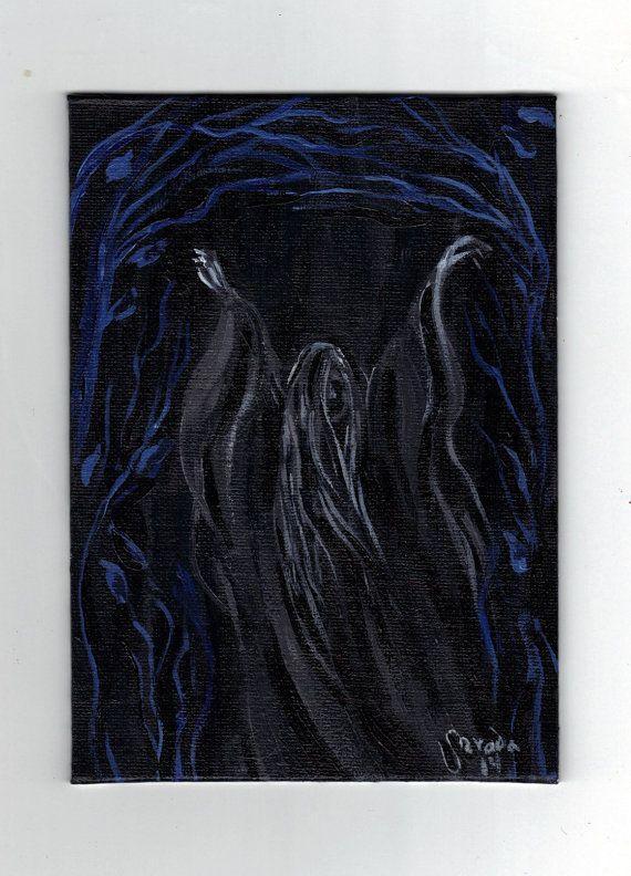 Gothic Ghost Art Original Acrylic Painting Dark By Artbysarada 40 00 Art Halloween Chalkboard Art Night Art