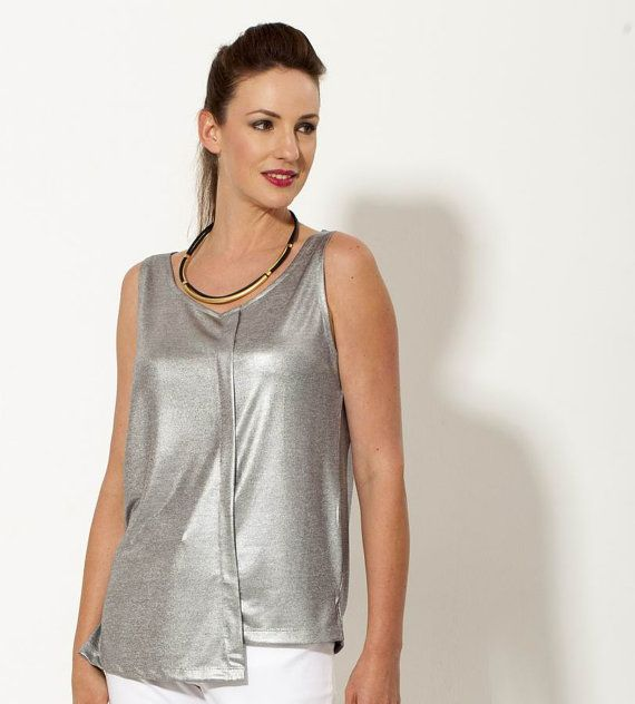 ef003b628955dc Metallic shirt, Sparkle Top, Faux Leather, Evening Tops, Metallic ...