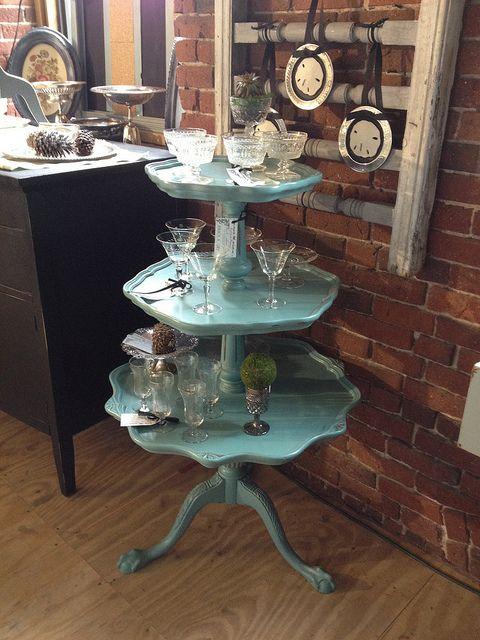 Aqua Distressed 3 Tier Table Diy Decor Furniture Makeover Tiered Tray Decor